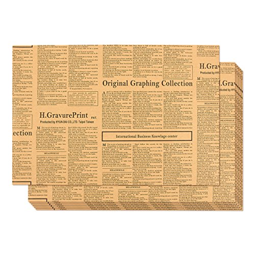 Printed Paper Ribbon - Kraft Paper Roll - 12-Pack Packing Paper, Newspaper Theme Brown Kraft Paper Roll, Brown Wrapping Paper, 27.75 x 19.75 Inches