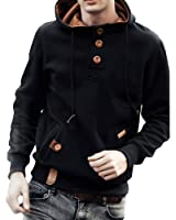 Mens Outdoor Sport Hoodies Button Pullover Hooded Sweatshirt ...