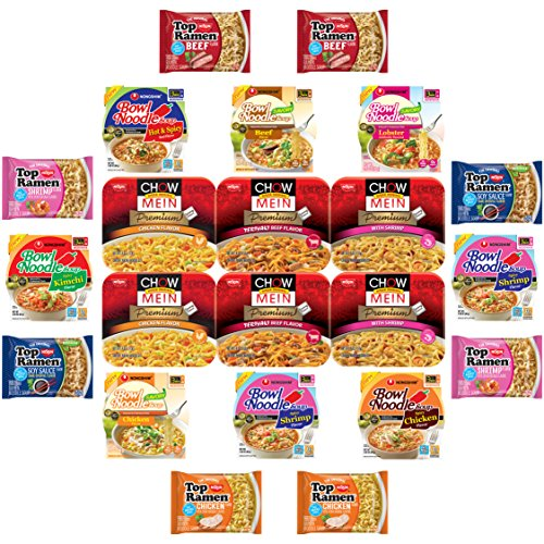 Nissin and Nongshim Ramen Mix Variety Noodle Sampler (23 Count)