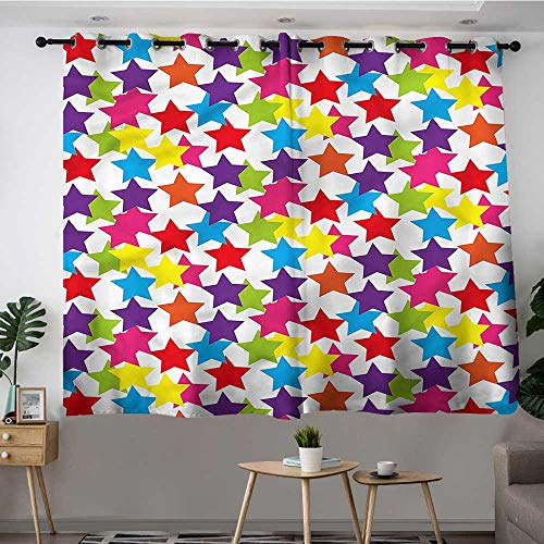 Fbdace Modern Custom Curtain Funky Stars Kids Room Room Darkening, Noise Reducing W 63