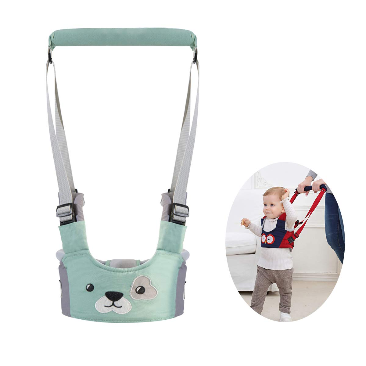 Baby Walking Harness Adjustable Baby Walker Assistant Protective Belt for Kids Infant Toddlers (Green)