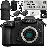 Panasonic Lumix DC-GH5 Mirrorless Micro Four Thirds Digital Camera with V-Log L Function Activation Code 8PC Accessory Bundle – Includes 64GB SD Memory Card + 2x Replacement Batteries + MORE