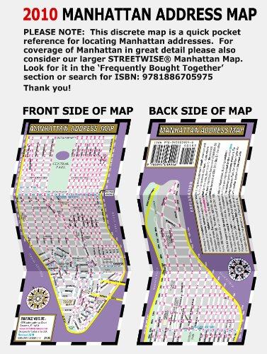 Streetwise Manhattan Address Map - Laminated Address Locator Map for Manhattan, NY - Folding pocket & wallet size map for travel