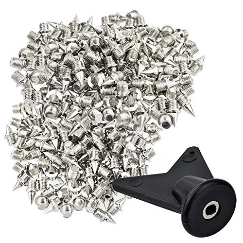 "Wobe 200 Pcs 1/4 Inch Stainless Steel Spikes with 1 Pcs Spike Wrench, 0.25"" Length Track and Cross Country Spikes Shoe Replacement Spikes for Sprint Sports Short Running Shoes Silver Color"