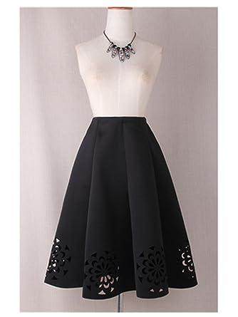 a7ac3fe101 George GougeFashion Midi Skirt New Elegant Vintage Floral Crochet Black  White Red Women High Waist A