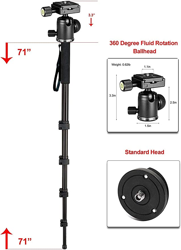 for Sony HDR-PJ760V Professional Black 72 Monopod//Unipod Quick Release