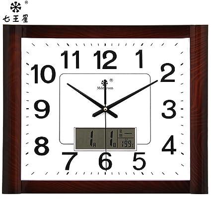 AIZIJI Calendario relojes Reloj de pared Reloj cuadrado Dibujo creativo-Tabla familia china electrónico silencio