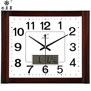 AIZIJI Calendario relojes Reloj de pared Reloj cuadrado Dibujo creativo-Tabla familia china electrónico silencio reloj de cuarzo 43x35cm: Amazon.es: Hogar