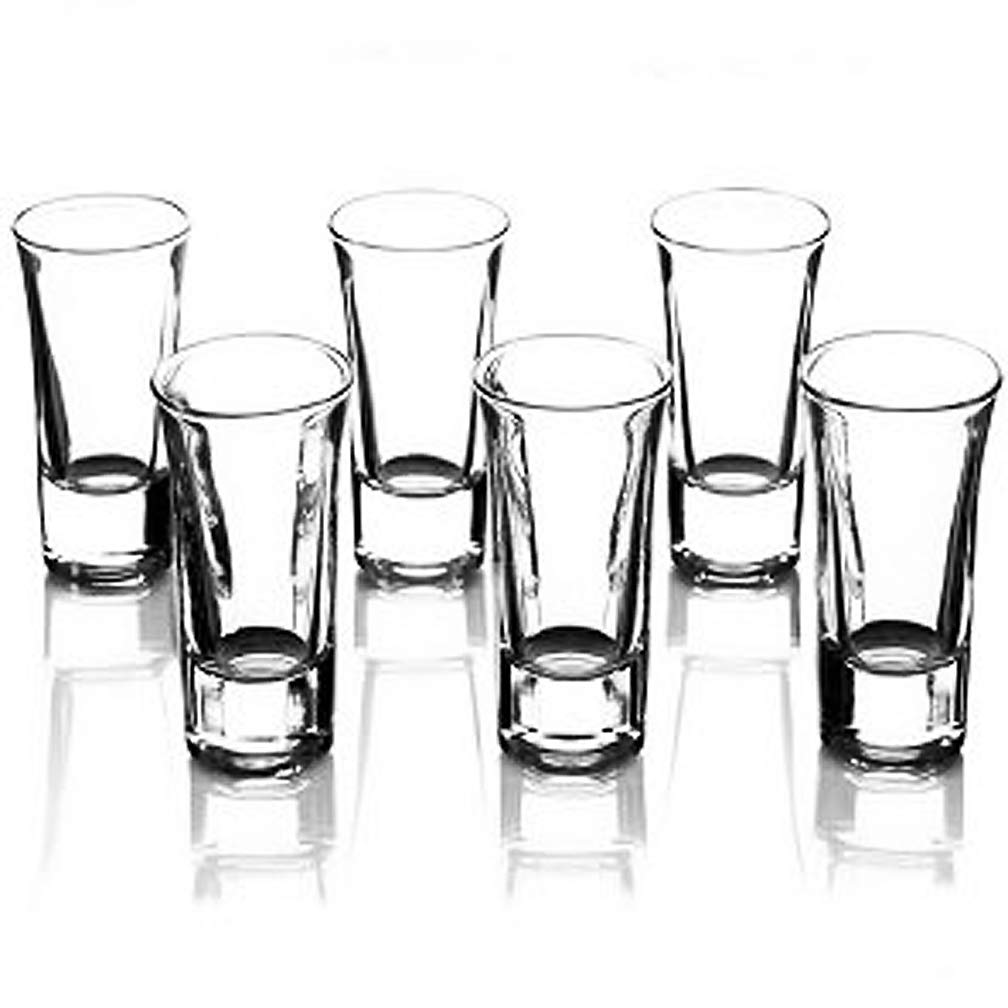 Happy Sales HSSG-6HSHT3, Set of 6 Heavy Base Shot Glass Set, Whiskey Shot Glass, Sake Cups 2 oz. Each
