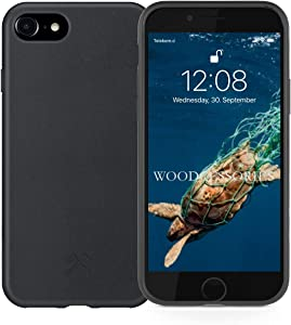 Woodcessories - Phone Case Compatible with iPhone SE 2020 Case Black, iPhone 8 Case Black, 7, 6 s - Ecofriendly, Made of Plants