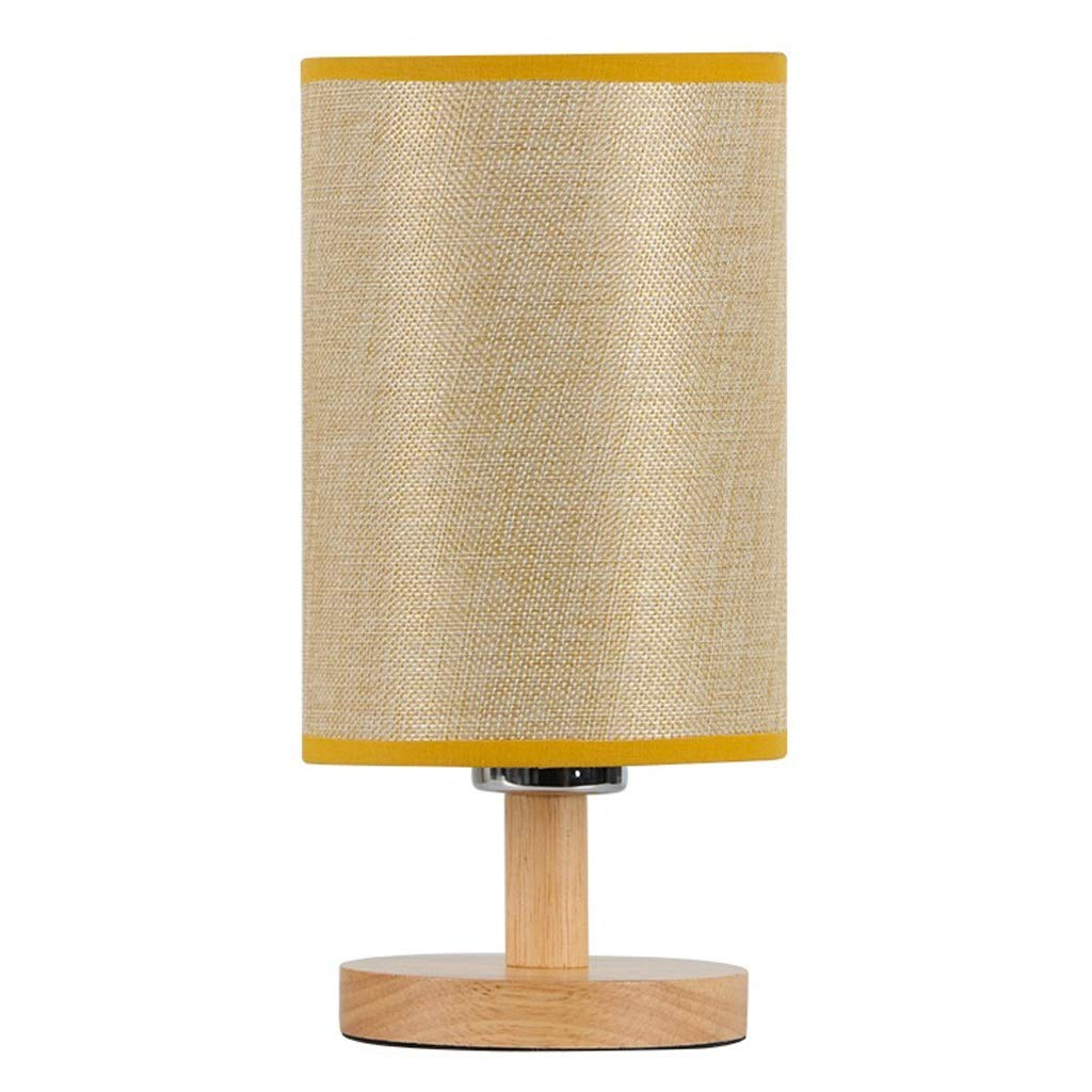 Bedside Table Lamp Modern Minimalist Table Lamp Bedroom Bedside Table Lamp Wooden Study Reading Table Lamp Corridor Night Light Home Living Desk Lamp (Color : Yellow) by Zunruishop