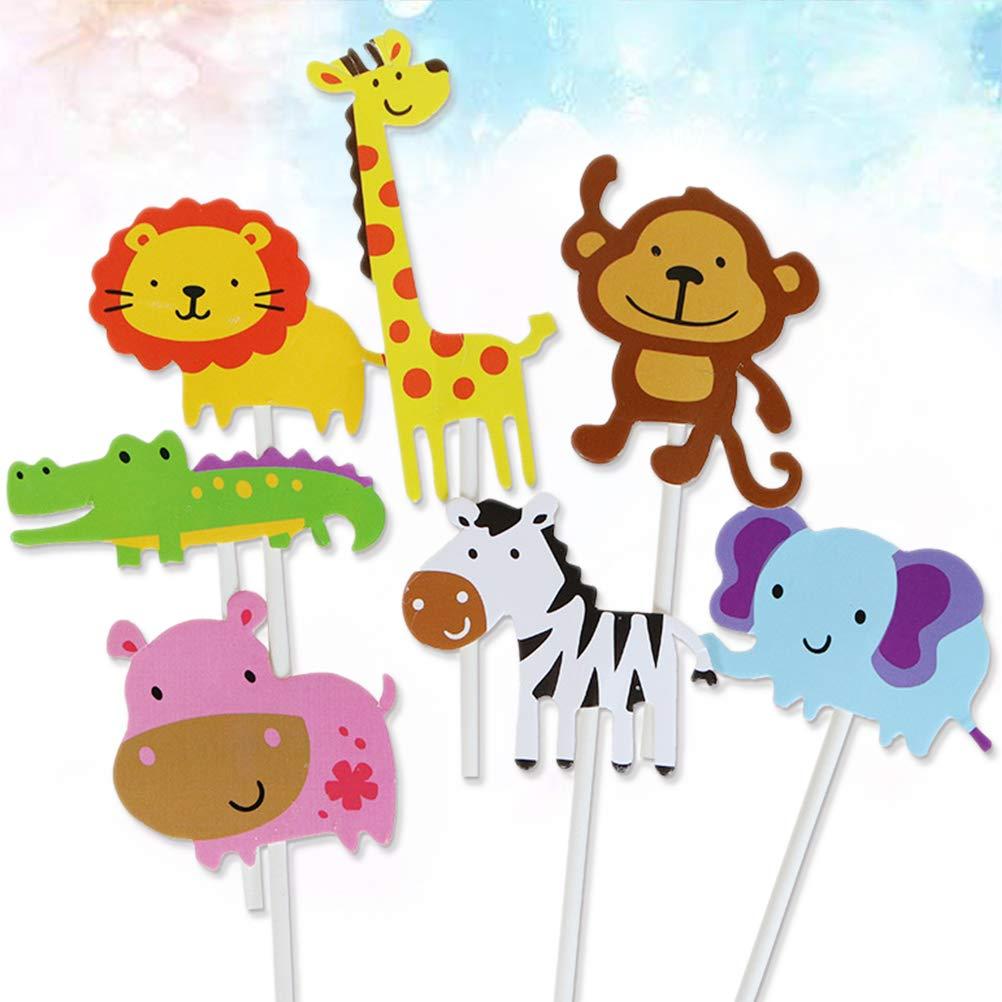 BESTOYARD 7 Unids Animal Cake Toppers Lindo Zoo Cupcake Picks Animal Park Tema Cupcake Decoraci/ón para Ni/ños Cumplea/ños Baby Shower Party Supplies