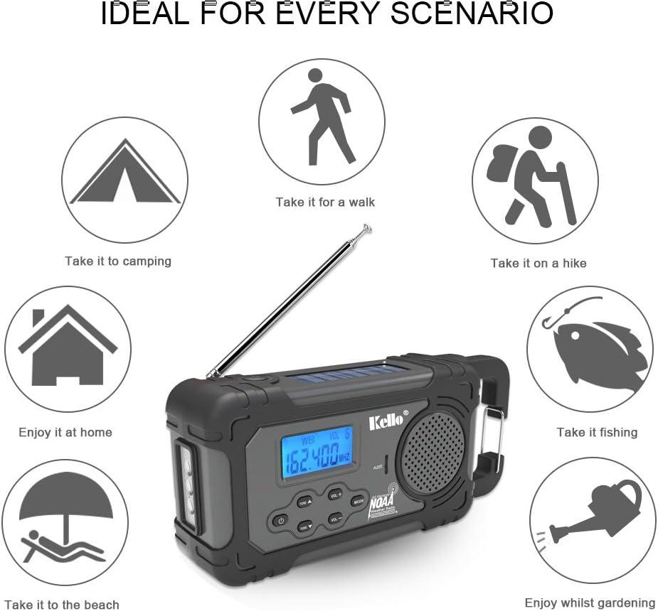 Kello Solar Crank NOAA Weather best survival radio communications systems