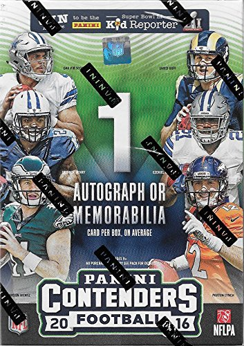 Autographed Football Card (2016 Panini Contenders Football Series Factory Sealed Blaster Box of Packs with One AUTOGRAPHED or MEMORABILIA Card per Box)