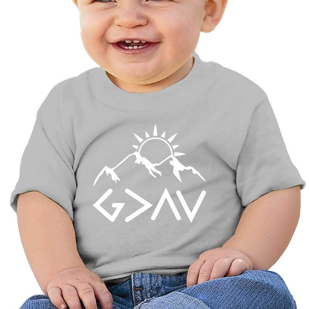 DAISYBARKER Washed Cotton Baby Boy Girls Cute Shirt God is Greater Cute Summer T Shirt Funny