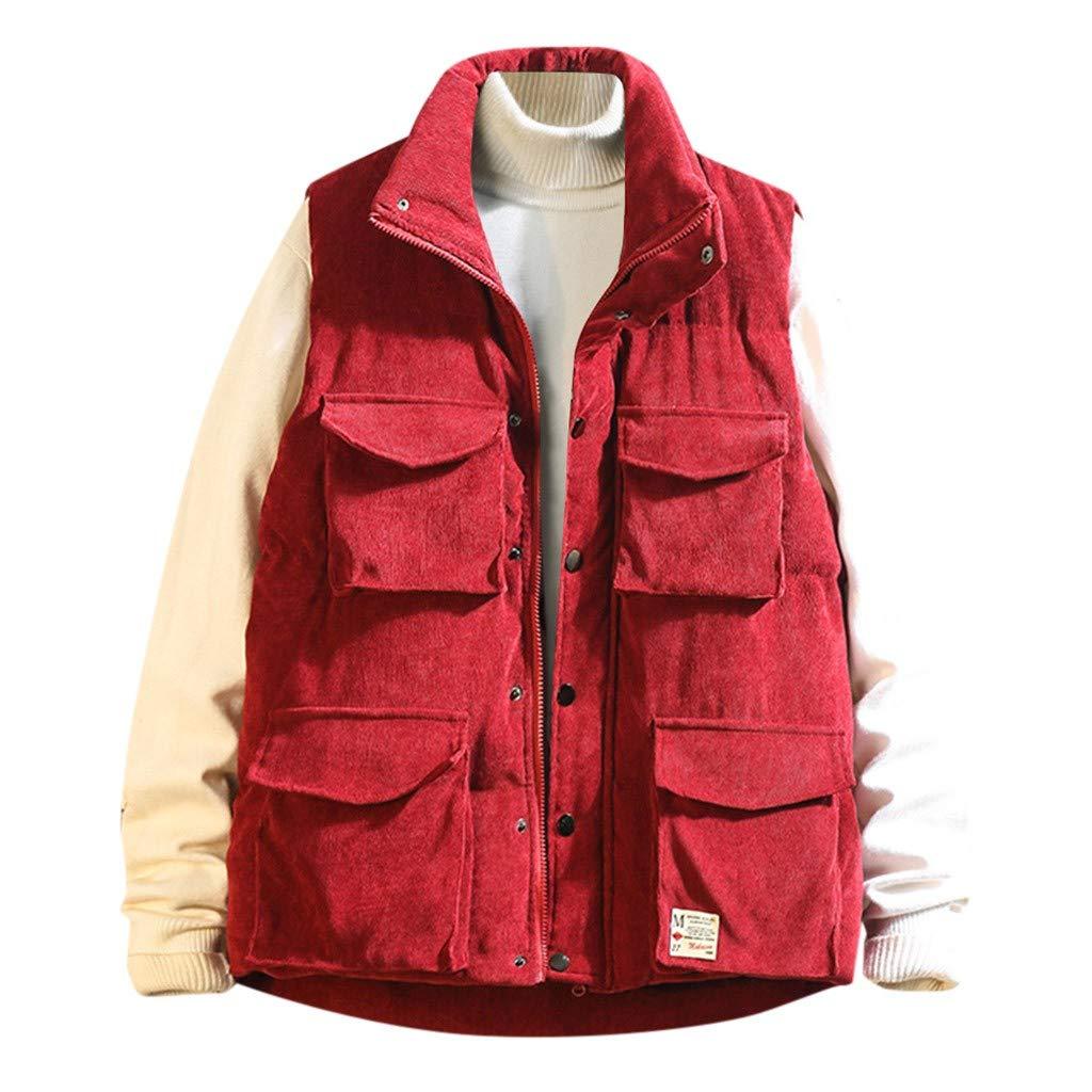 VZEXA Mens Vest Jacket Fleece Sleeveless Top Winter Warm Thicken Zipper Pocket Outwear Red by VZEXA
