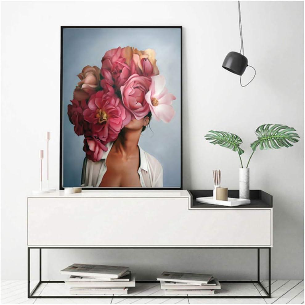 HANSHUIHONG Druck auf leinwand Blume Federn Frau Abstrakte Leinwand Malerei Wandkunst Druckplakat Bild Dekorative Malerei Wohnzimmer Dekoration 30x40 cm x 3 st/ücke Kein Rahmen