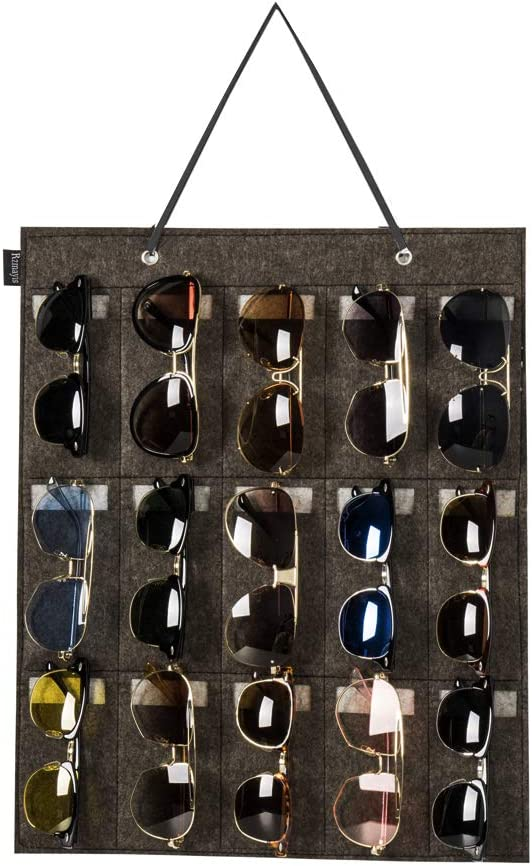RZMAYIS Sunglasses Organizer Storage Wall Mounted Hanging Sunglasses Organiser 15 Slots Glasses Storage Organizer Holder(Dark-Grey)