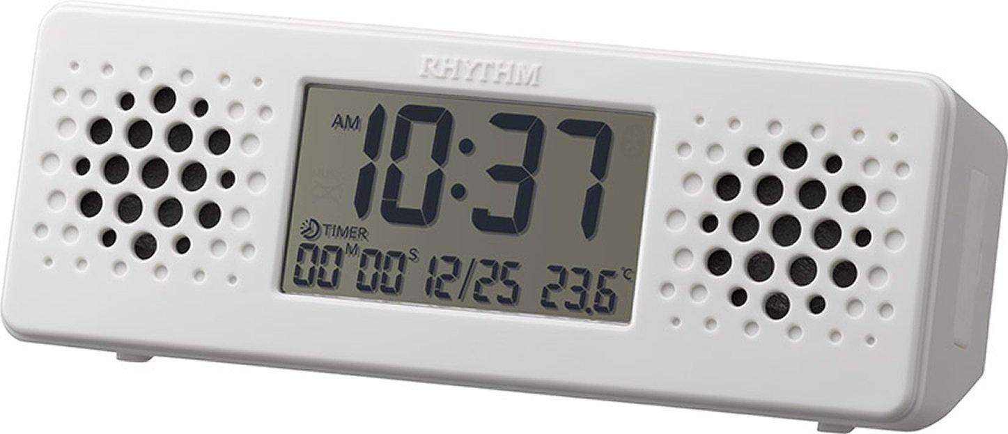 リズム時計 目覚まし時計 デジタル 防水 アクアプルーフミュージック Bluetooth で音楽再生 お風呂で役立つ タイマー 機能付き 白 RHYTHM 8RDA73RH03 B01N80NA6S