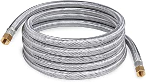 SHINESTAR 12 Foot Stainless Steel Propane Hose Assembly with Both 1/4inch Female Pipe Thread for RV, Gas Grill, Fire Pit, Heater,etc