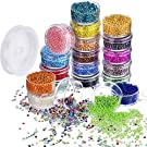 16000 Pieces Glass Seed Beads 20 Colors 2 mm Silver Lined Pony Beads Tiny Spacer Beads in Container Box with 18 m Elastic Crystal String Cord
