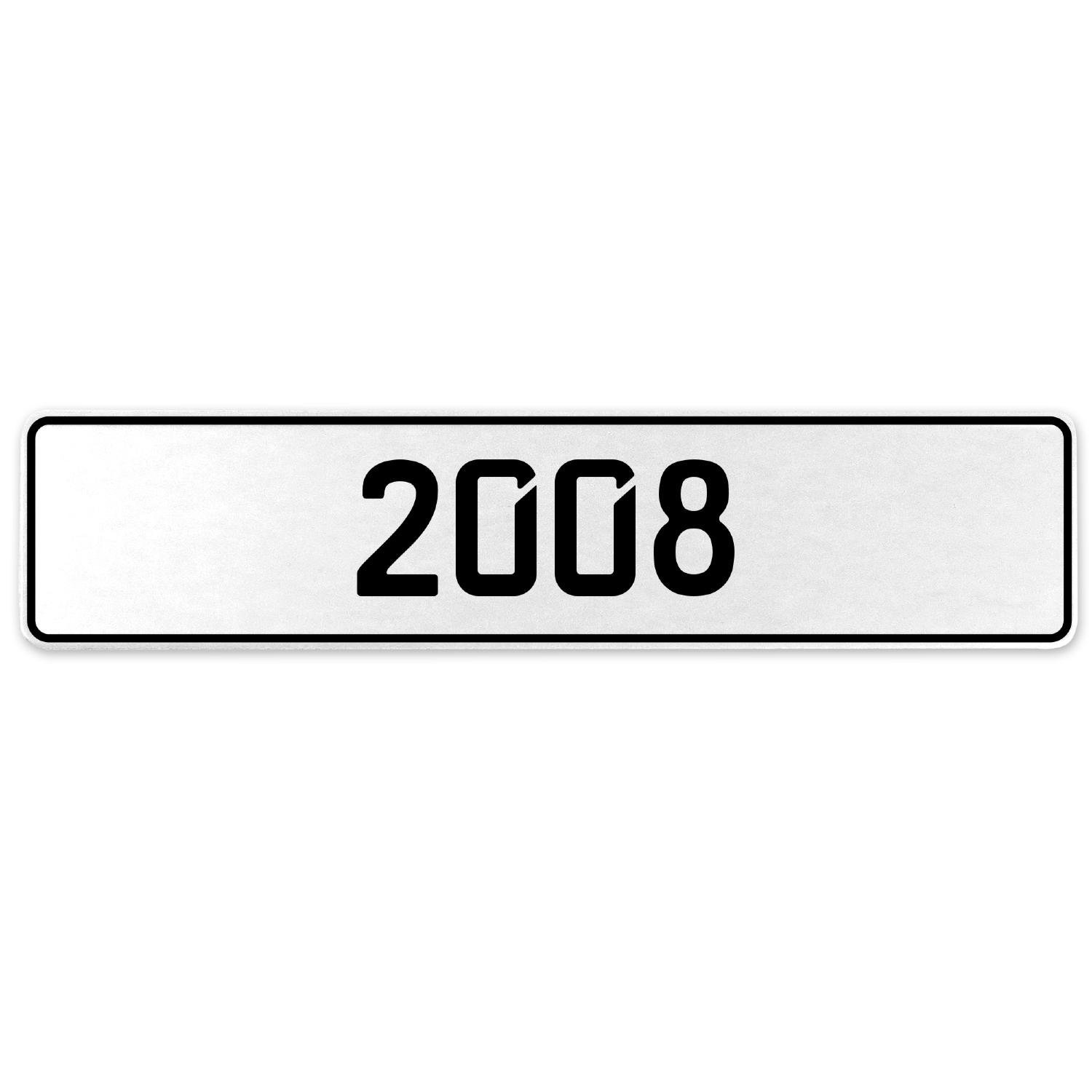 Vintage Parts 553251 2008 Year White Stamped Aluminum European License Plate