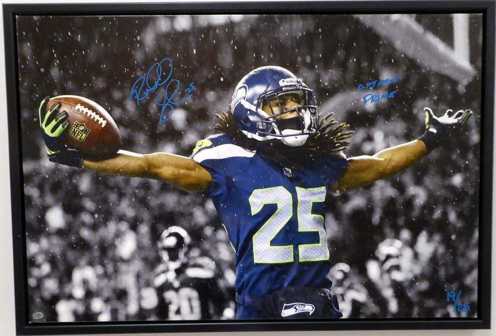 "Richard Sherman Autographed Framed 20x30 Canvas Photo Seattle Seahawks""Optimus Prime"" #/25 RS Holo Stock #124654"