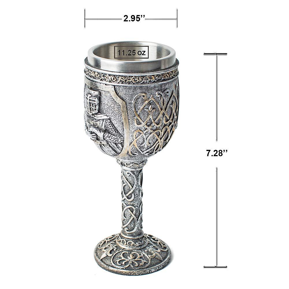 Medieval Viking Knight Royal Chalice Wine Goblet Gothic Metal Cup Drinking Vessel with Wine Drip Ring for King/Queen's Party Decorations Wedding Prop by LitLife (Image #6)