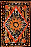 ModTradIndia - Celestial Sun Moon Stars Planet Tapestry, Indian Hippie Wall Hanging , Bohemian Bedspread, Mandala Cotton Dorm Decor Beach blanket