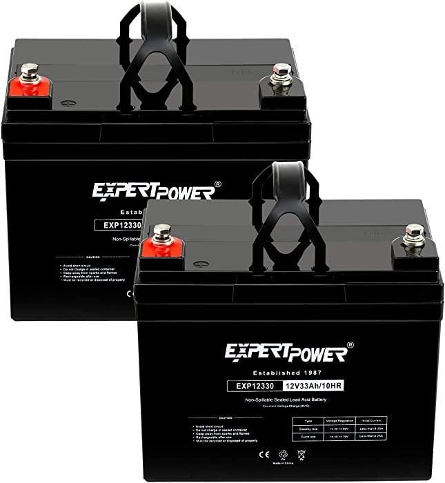 (2 Pack) ExpertPower 12v 33ah Rechargeable Deep Cycle Battery [EXP1233 ]