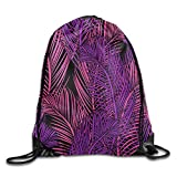 Bahuluo Portable Athletic Drawstring Tote Gym Sack Pack - Red Purple Fine Leaves