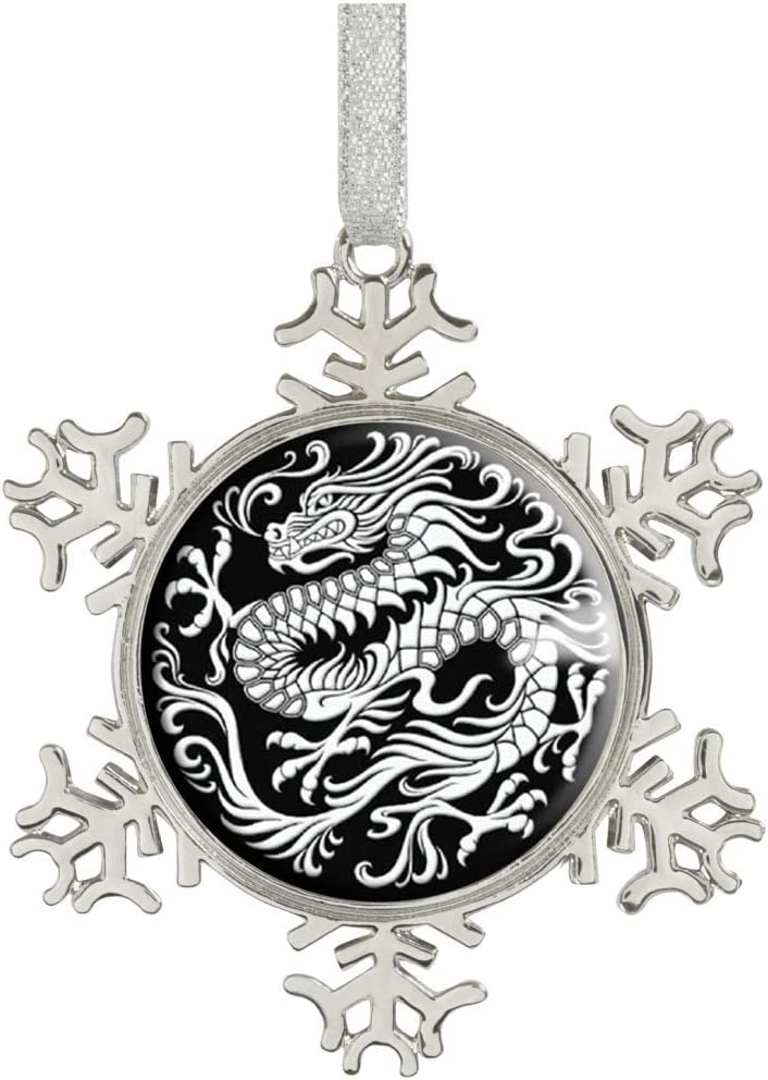 Heilong Snowflakes Ornaments Christmas Tree Ornaments Home Decoration Glass Image Dome (Chinese Dragon Asian Oriental Black White STASH)