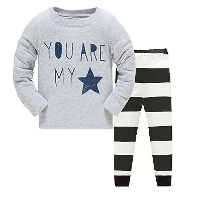 Boys Pajamas Fashion Rib Long Sleeves Toddler Star Kids Pjs Sleepwear 2 Piece