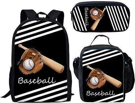 POLERO - Set de Mochila y Estuche para Almuerzo Baseball-2 Medium: Amazon.es: Equipaje