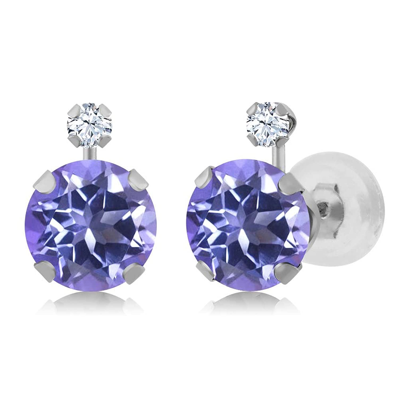 2.08 Ct Purple Blue Mystic Topaz White Created Sapphire 14K White Gold Earrings
