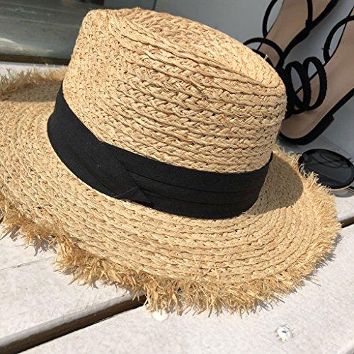 ファッションレディース太陽の麦わら帽子 パナマラフィア女性サマービーチワイドブリムサンストローハットシーサイドサンスクリーンシェード調節可能カジュアルバイザー CHENGYI