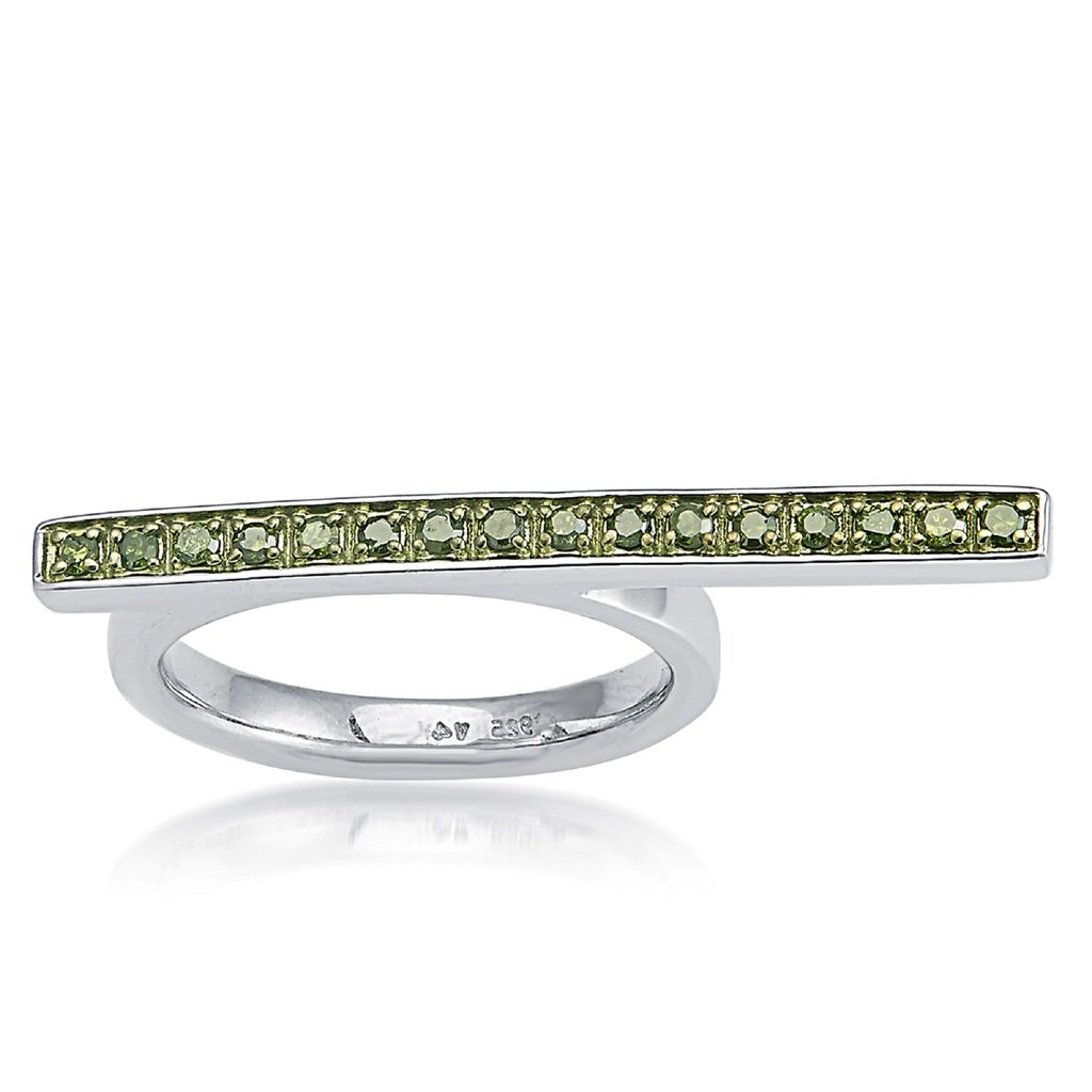 Sterling Silver 0.24ct Green Diamond Flat Top Stack Ring