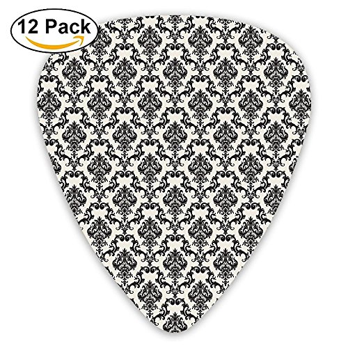 Kettle Halo (Newfood Ss Contemporary Western Damask Motif With Weave Effect Floral Leaves Guitar Picks 12/Pack Set)