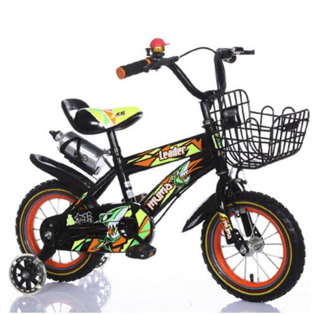 YANGFEI 子ども用自転車 フリースタイルキッズバイク、トレーニングホイール、12インチ、14インチ、16インチ、18インチ、ボーイのバイクとガールズバイク、子供のためのギフト 212歳 B07DWVQD2R 12 inch|Black+Orange Black+Orange 12 inch
