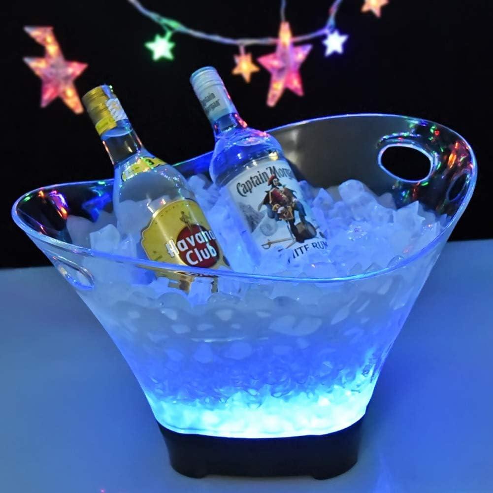 YLEI Led Ice Bucket - Beverage Tub - Beverage Bucket - Ice Cooler Buckets - Acrylic Clear Beverage Tub with Handle Large Capacity Multi-Color Wine Buckets for Bar Ktv-B 42X26cm