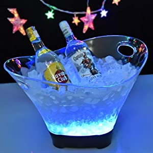 YLEI Led Ice Bucket - Beverage Tub - Beverage Bucket - Ice Cooler Buckets - Acrylic Clear Beverage Tub with Handle Large Capacity Multi-Color Wine Buckets for Bar Ktv-B 42X26cm