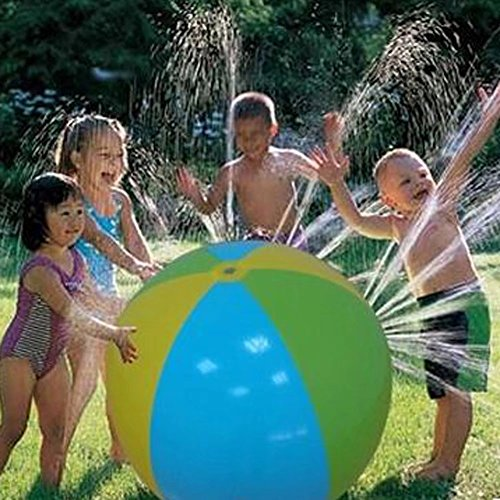 Finebaby Children Inflatable Toys Water Spray Ball Sprinkler Octopus Cartoon Coconut Trees Squirt Lawn Pool Toy for Kids and Toddlers Boys Girls