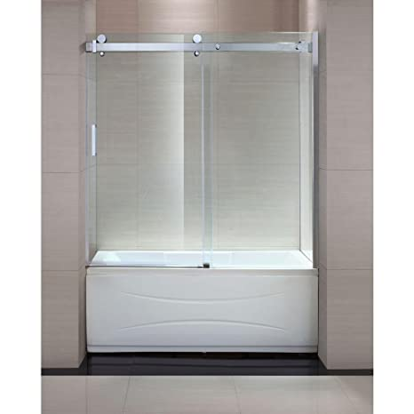 "Latest Schon SC Judy 60"" x 59"" Frameless Sliding Trackless Tub Shower Door in Chrome with Clear Glass Amazon In 2018 - Amazing trackless shower doors For Your House"