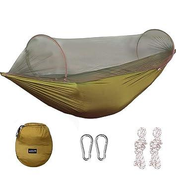 Hamaca de G4Free con diseño portátil, plegable y con mosquitera; ideal para patios, camping, interiores o senderismo, marrón claro: Amazon.es: Deportes y ...