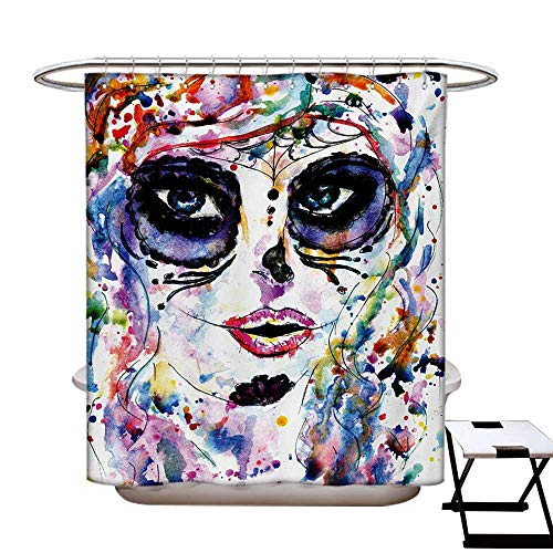 BlountDecor Sugar Skull Shower Curtains Sets Bathroom Halloween Girl with Sugar Skull Makeup Watercolor Painting Style Creepy Look Satin Fabric Sets Bathroom W69 x L70 Multicolor -