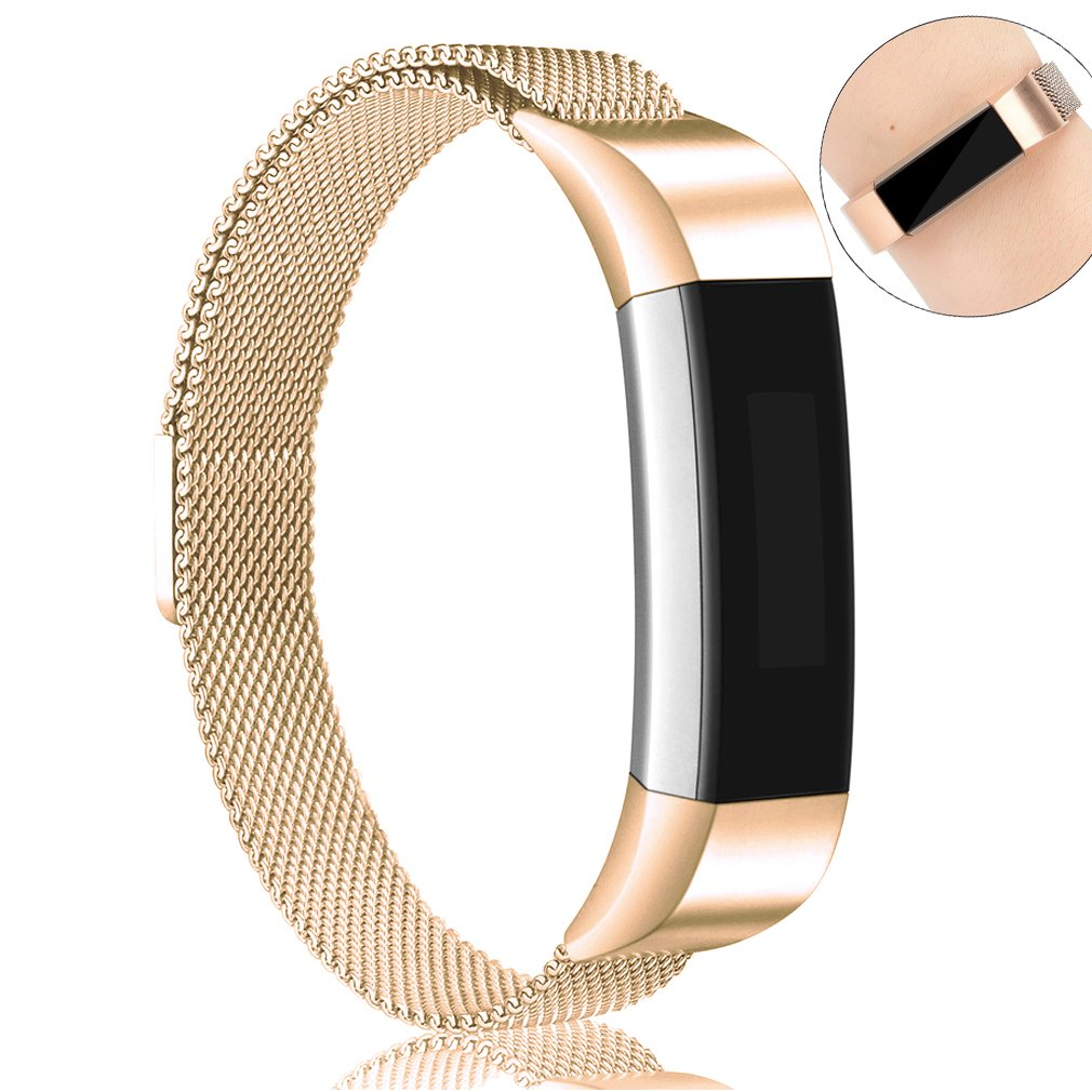 AK for Fitbit Alta HR Bands Milanese Stainless Steel Small Large Magnetic Closure, Adjustable Alta HR/Alta Accessories Metal Bands Straps for Fitbit Alta HR 2017/ Fitbit Alta 2016 (Rose Gold, Small)
