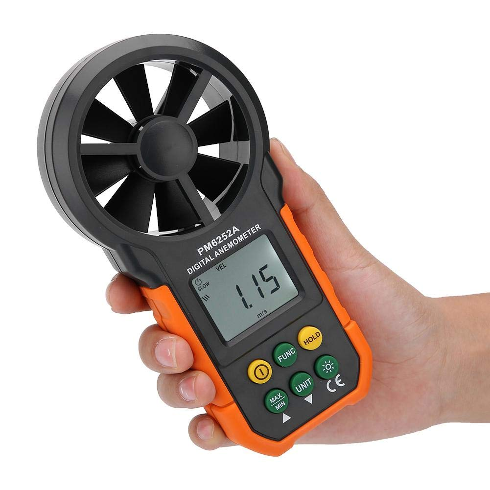 Semme PEAKMETER PM6252A Anemómetro Digital, medidor de Velocidad de Viento portátil de Alta precisión Medidor Medidor de Volumen de Aire para recolección de ...