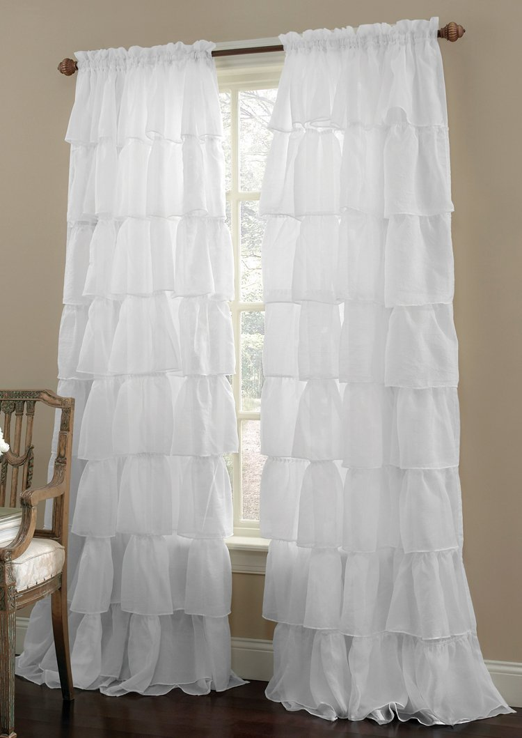 """1PC Gypsy Window Treatment Curtain Crushed Sheer Panel Drape Ruffle Style Semi-sheer Fully Stitched with Rod Pocket for any Room Avilabale in Multiple Colors and Size(55"""" Wide x 84"""" Long,White)"""