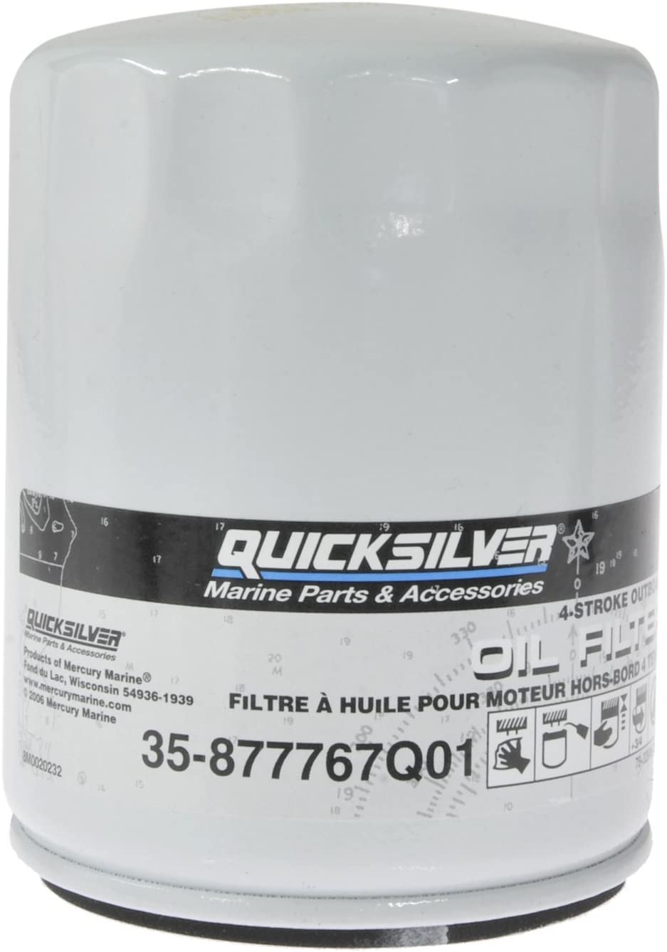 Quicksilver 877767Q01 Oil Filter - Verado In-Line 4-Cylinder 135 HP through 200 HP Outboards