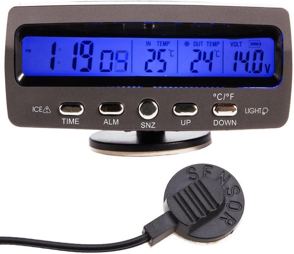 WINGONEER 12V Termómetro de la temperatura del monitor de la alarma LCD/Battery del coche